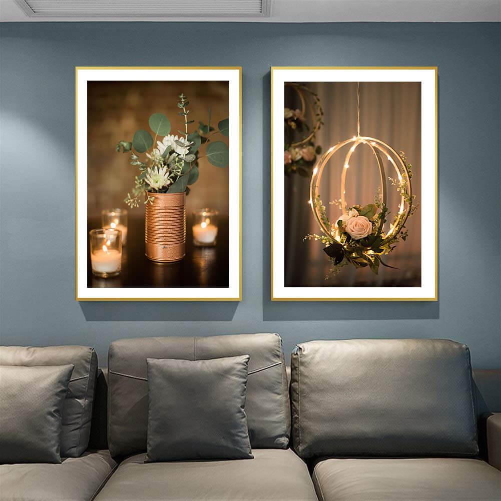 تابلوه زجاج - 2 فريم- شموع - 100×70