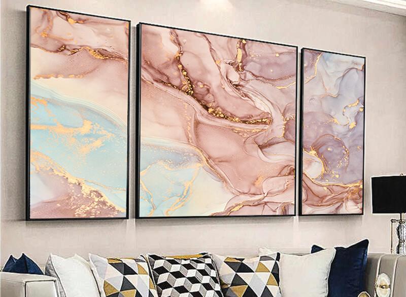 تابلوه زجاج - 3 قطع- رخامي - 110×60