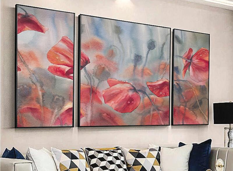 تابلوه زجاج - 3 قطع- ورد - 130×50