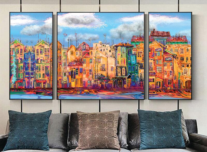 تابلوه زجاج - 3 قطع- مدينة - 110×60