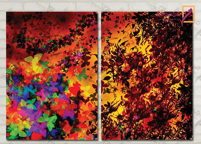تابلوه مودرن -فراشات - 2 قطعة - 100*70