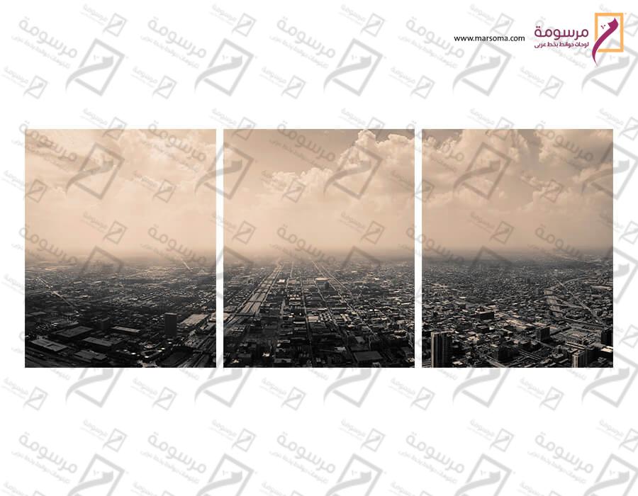 تابلوه مودرن - مدينة - 3 قطع  خشب - 50x120