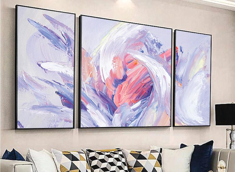 تابلوه زجاج - 3 قطع- فن رسم - 110×60
