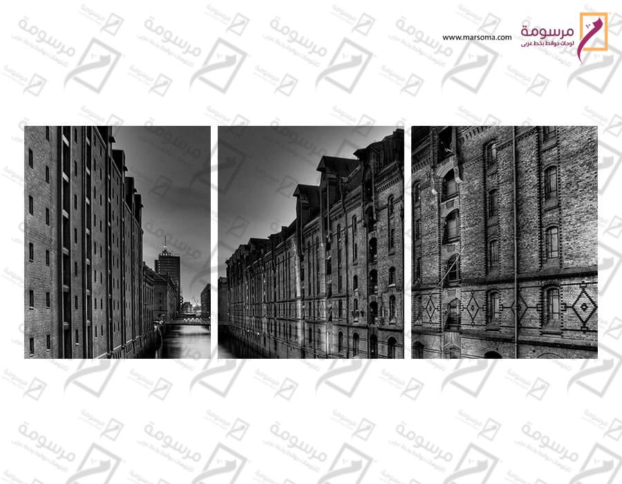 تابلوه مودرن - مدينة قديمة - 3 قطع  خشب - 50x120