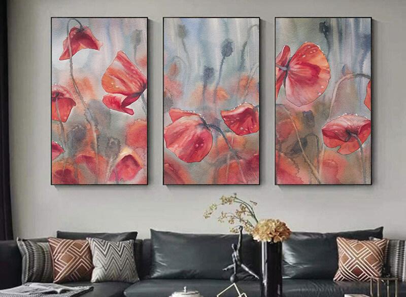 تابلوه زجاج - 3 قطع-  ورد - 105×60