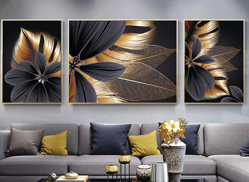 تابلوه زجاج - 3 قطع- ورق شجر دهبي - 130×50