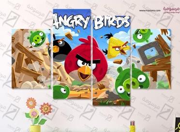 تابلوه اطفال - angry birds - 4 قطع  - 80×50