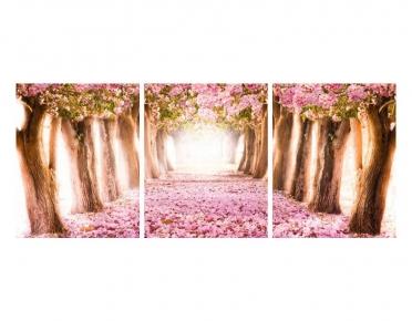 تابلوه مودرن - اشجار- 3 قطع  خشب - 50x120