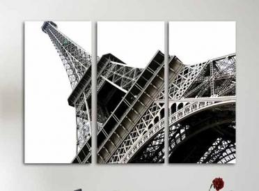 تابلوه مودرن -  برج ايفل- 3 قطع  خشب - 100×70 سم