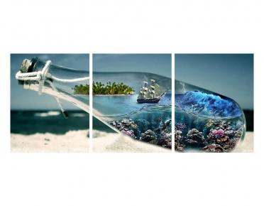 تابلوه مودرن - شاطئ- 3 قطع  خشب - 50x120