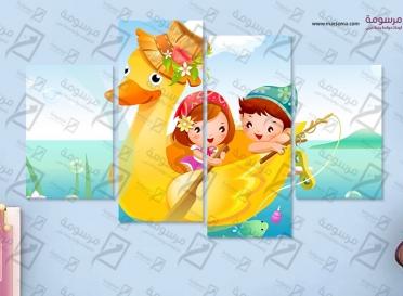 تابلوه اطفال - بطة - 4 قطع  - 80×50