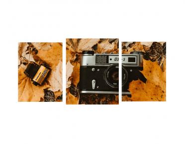 تابلوه مودرن .. كاميرا قديمة - 3 قطع خشبي - 100*50 سم