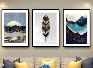 تابلوه زجاج - 3 قطع- جبال ريشة - 120×60