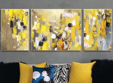 تابلوه زجاج - 3 قطع- فن دهبي - 130×50