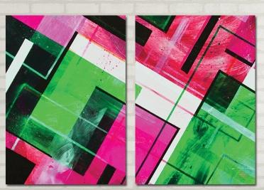 تابلوه مودرن - مربعات الوان - 2 قطعة - 100*70