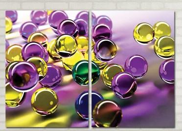 تابلوه مودرن - بللورات ملونه - 2 قطعة - 100*70