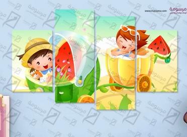 تابلوه اطفال - كيوت بيبي - 4 قطع  - 80×50