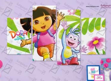 تابلوه اطفال - دورا - 4 قطع 80×50
