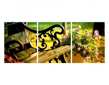 تابلوه مودرن - حديقة- 3 قطع  خشب - 50x120