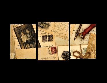 تابلوه مودرن .. رسائل قديمة - 3 قطع خشبي - 100*50 سم