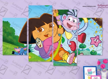 تابلوه اطفال - دورا - 4 قطع - 80×50