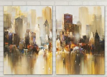 تابلوه مودرن - فن رسم مدينة- 2 قطعة - 100*70