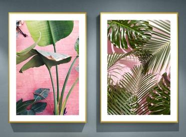 تابلوه زجاج - 2 فريم- ورق شجر - 100×70