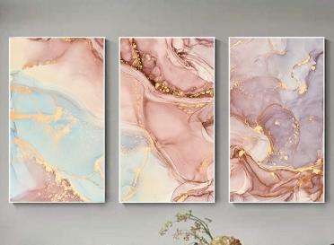 تابلوه زجاج - 3 قطع- رخامي - 105×60
