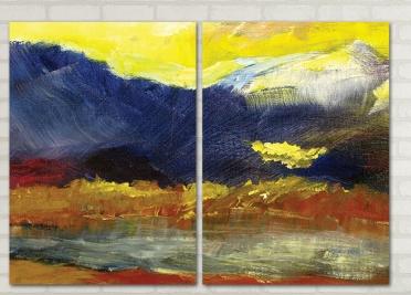 تابلوه مودرن - منظر طبيعي- 2 قطعة - 100*70