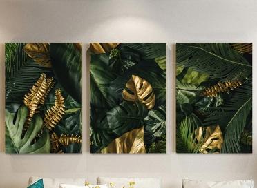 تابلوه مودرن - اوراق شجر- 3 قطع  خشب - 50x120