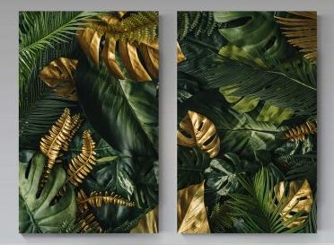 تابلوه مودرن - اوراق شجر-  - قطعتين -   خشب - 70x100