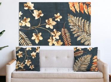 تابلوه مودرن و 2 كوشنز- ورد - قماش  فايبر- 100*60