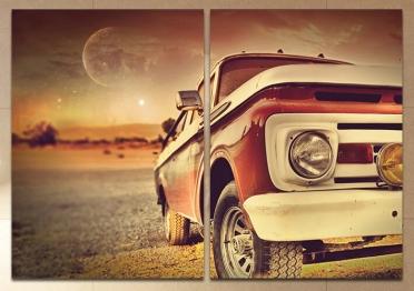 تابلوه مودرن - سياره قديمة - 2 قطعة - 100*70