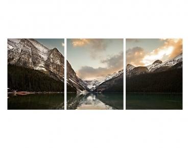 تابلوه مودرن - جبال- 3 قطع  خشب - 50x120
