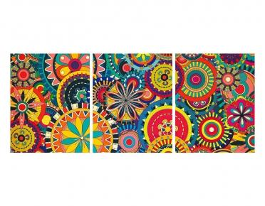 تابلوه مودرن - ماندلا- 3 قطع  خشب - 50x120