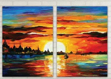 تابلوه مودرن - غروب الشمس - 2 قطعة - 100*70