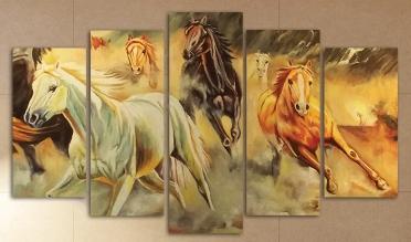 تابلوه مودرن - احصنة - 5 قطع - 125*75