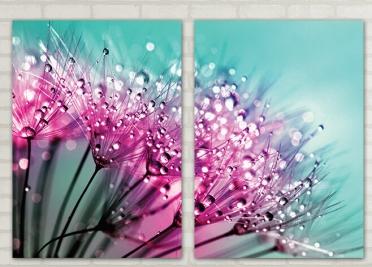 تابلوه مودرن - زهور - 2 قطعة - 100*70