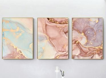 تابلوه زجاج - رخامي - 3 قطع - 120×60