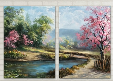 تابلوه مودرن - منظر طبيعي - 2 قطعة - 100*70