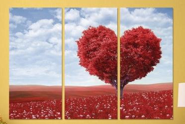 تابلوه مودرن - قلب - 3 قطع - 100*70
