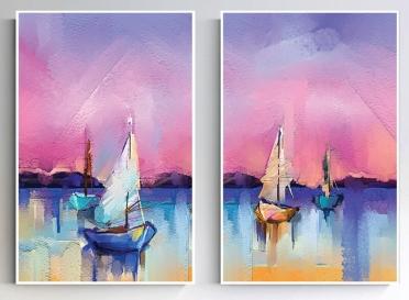 تابلوه زجاج - 2 فريم- مركب - 100×70