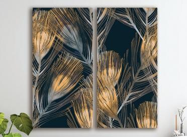 تابلوه مودرن- 2 قطعة - كانفس- ورق شجر دهبي - 90*100