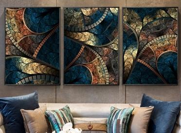 تابلوه زجاج - 3 قطع - 120×60