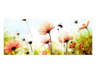 تابلوه مودرن - زهور- 3 قطع  خشب - 50x120