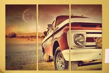 تابلوه مودرن - سياره قديمة -3 قطع - 100*70