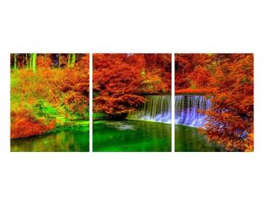 تابلوه مودرن - شلال- 3 قطع  خشب - 50x120